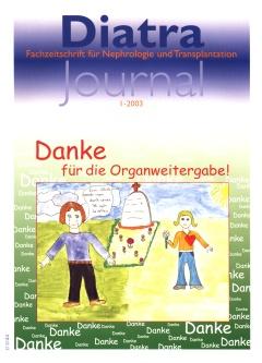 """Zum Titelbild:  Es stammt von Silvia Kretzler, Schülerin an der Konrad-Adenauer-Schule in Bruchsal. Sie und ihre Mitschüler beschäftigten sich im Jahre 2000 in der siebten Klasse auf Anregung und unter der Leitung der Kunstlehrerin Dagmar Kropp (selbst Dialysepatientin) mit dem Thema Tod - Trauer - Organspende. Die entstandenen Bilder wurden in Bruchsal öffentlich ausgestellt; das """"Diatra-Journal"""" hat seitdem wiederholt ausgesuchte Arbeiten aus diesem Projekt vorgestellt.  Silvia schreibt dazu: """"Organspende - Ich habe das Blatt in zwei Hälften geteilt, weil ich ausdrücken wollte, dass Organspende etwas Schönes aber auch Trauriges ist. Der Mann, der auf der dunklen Seite steht, weint aus Trauer um den verlorenen Verwandten. Es sollen aber auch gleichzeitig Freudentränen sein, dass durch den Tod einem anderen Menschen geholfen werden konnte. Die Frau auf der rechten hellen Seite freut sich über ihr """"neues"""" Herz, ist aber auch etwas traurig, weil ein anderer Mensch gestorben ist. Ich finde eine Organspende gut und finde, dass wenn man ein Organ gespendet bekommen hat, sollte man sich darüber freuen und zufrieden sein."""""""