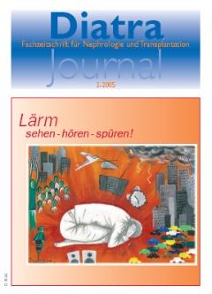 """Zum Titelbild:  Der """"Tag gegen Lärm"""", der am 20. April 2005 zum sechsten Mal auf die geräuschvolle Gegenwart aufmerksam machte, ist für Diatra-Journal Anlaß, eines der mehr als 1.000 Bilder und Zeichnungen aus einem Malwettbewerb von Kindern und Jugendlichen, zu dem der Deutsche Arbeitsring für Lärmbekämpfung (DAL) aufgerufen hatte, zu zeigen. Es trägt den Titel """"Unerträglich"""" und stammt von Magdalena Götze - Jahrgang 5-10 - aus Brandenburg."""
