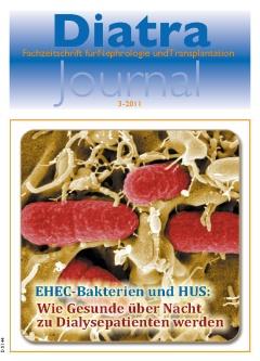 Zum Titelbild:<br /> Klein, aber gefährlich: EHEC-Bakterien unter dem Elektronenmikroskop. Der Ausbruchsstamm zeichnet sich dadurch aus, daß er sich sehr lang im Darm des infizierten Menschen aufhalten und vermehren kann. Das dort von den Bakterien produzierte Gift gelangt in den Blutkreislauf und schädigt dann die Innerauskleidung der Blutgefäße – das Endothel. <br /> Aufnahme / Gestaltung / inhaltliche Angaben: Manfred Rohde, HZI / Dennis M. Stamm / Professor Dr. Jan Kielstein, MHH